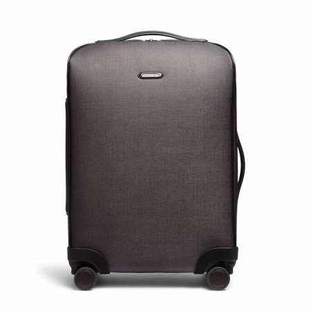 Luggage Ermenegildo Zegna Traveller C1225ASPM Chevron Canvas 55cm Trolley Spinner Slate Grey