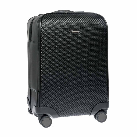 Luggage Ermenegildo Zegna Traveller C1329PPTA Pelle Tessuta Black 67cm Trolley Spinner Black