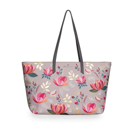 Bags Sara Miller Peony Floral SMP1001-003 Large Tote With Top Zip Peony