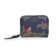 Accessories Sara Miller Playing Birds SMP1007-002 Small Zip Around Purse Smokey Blue Birds